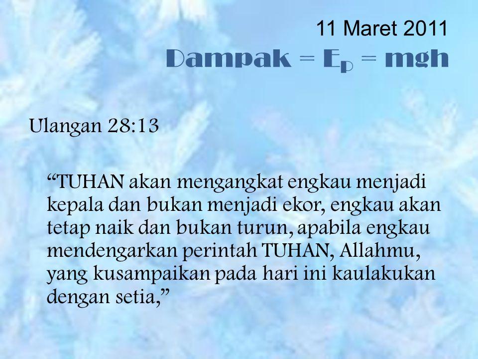 11 Maret 2011 Dampak = EP = mgh