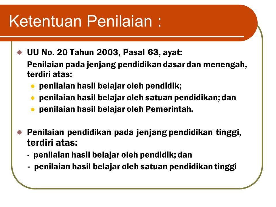 Ketentuan Penilaian : UU No. 20 Tahun 2003, Pasal 63, ayat: