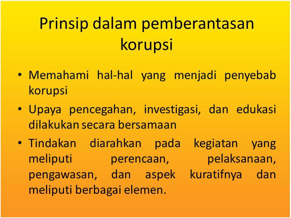 Prinsip dalam pemberantasan korupsi