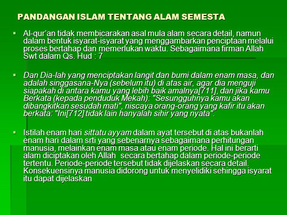 PANDANGAN ISLAM TENTANG ALAM SEMESTA