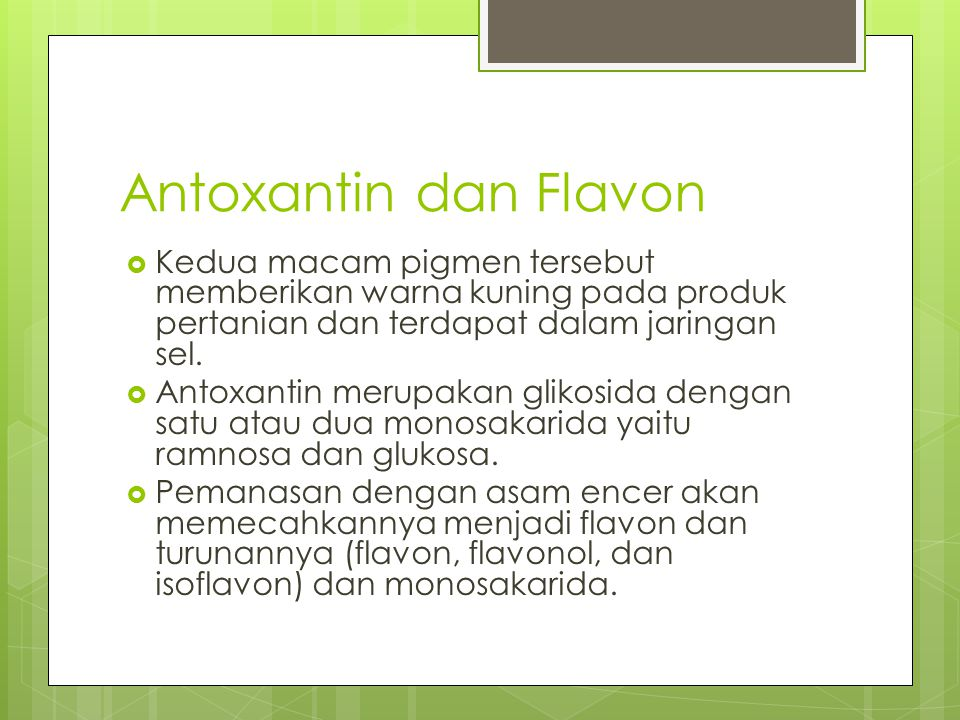 Antoxantin dan Flavon Kedua macam pigmen tersebut memberikan warna kuning pada produk pertanian dan terdapat dalam jaringan sel.