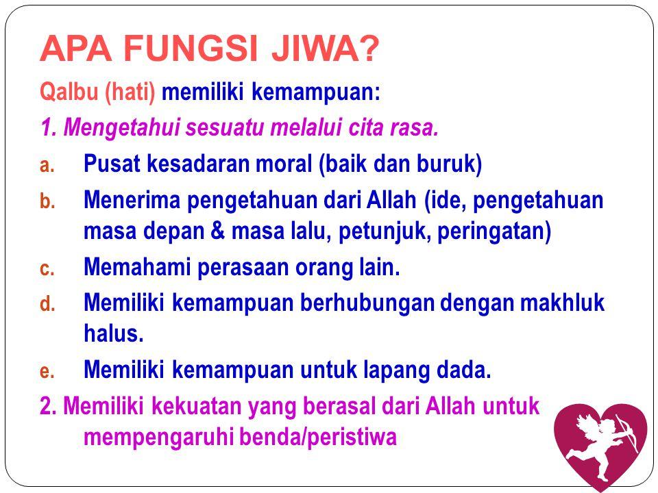 APA FUNGSI JIWA Qalbu (hati) memiliki kemampuan: