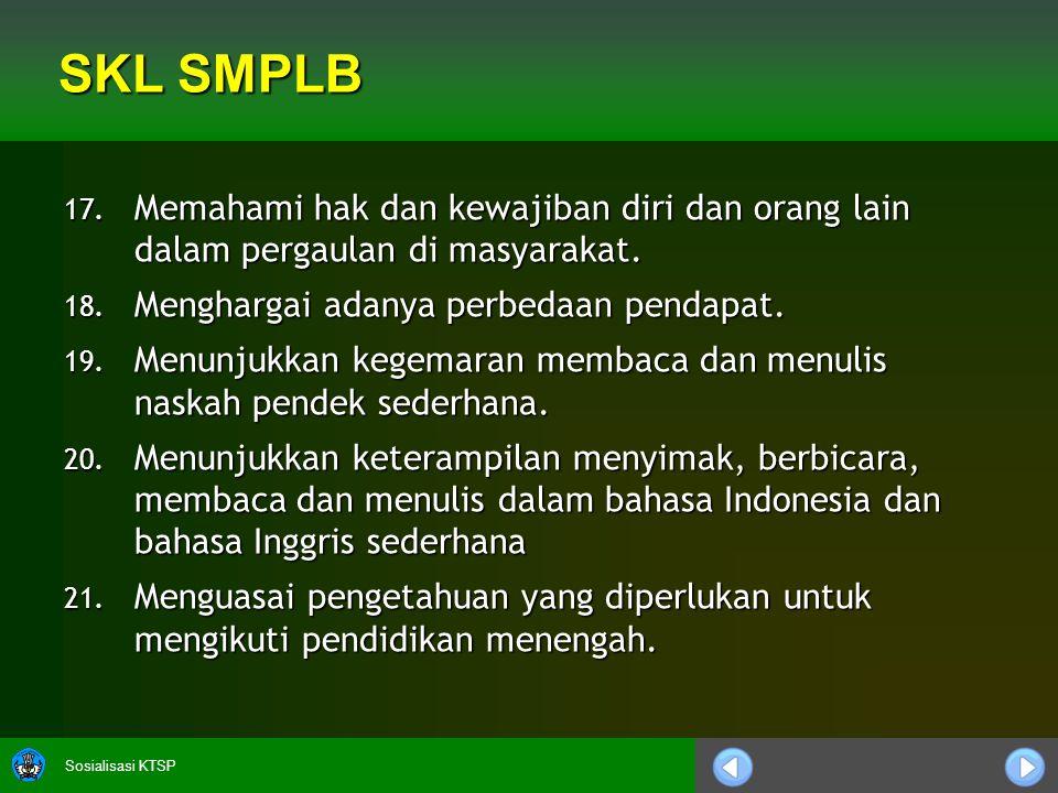 SKL SMPLB Memahami hak dan kewajiban diri dan orang lain dalam pergaulan di masyarakat. Menghargai adanya perbedaan pendapat.