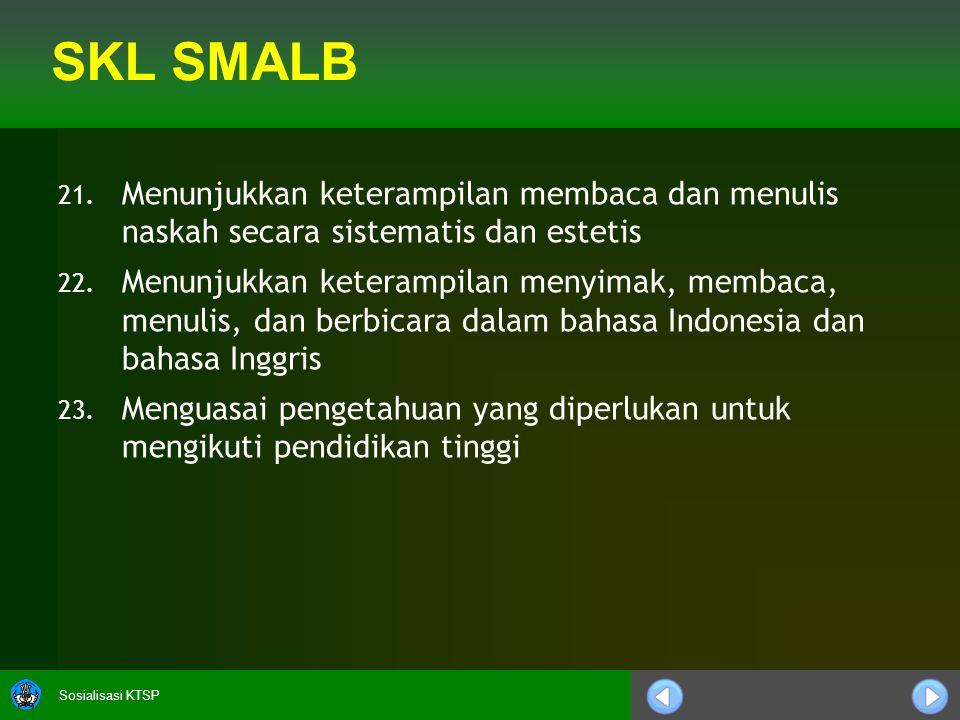 SKL SMALB Menunjukkan keterampilan membaca dan menulis naskah secara sistematis dan estetis.