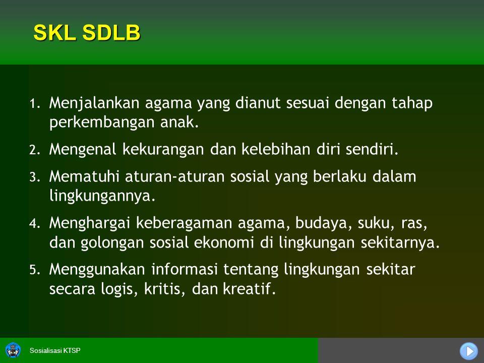 SKL SDLB Menjalankan agama yang dianut sesuai dengan tahap perkembangan anak. Mengenal kekurangan dan kelebihan diri sendiri.