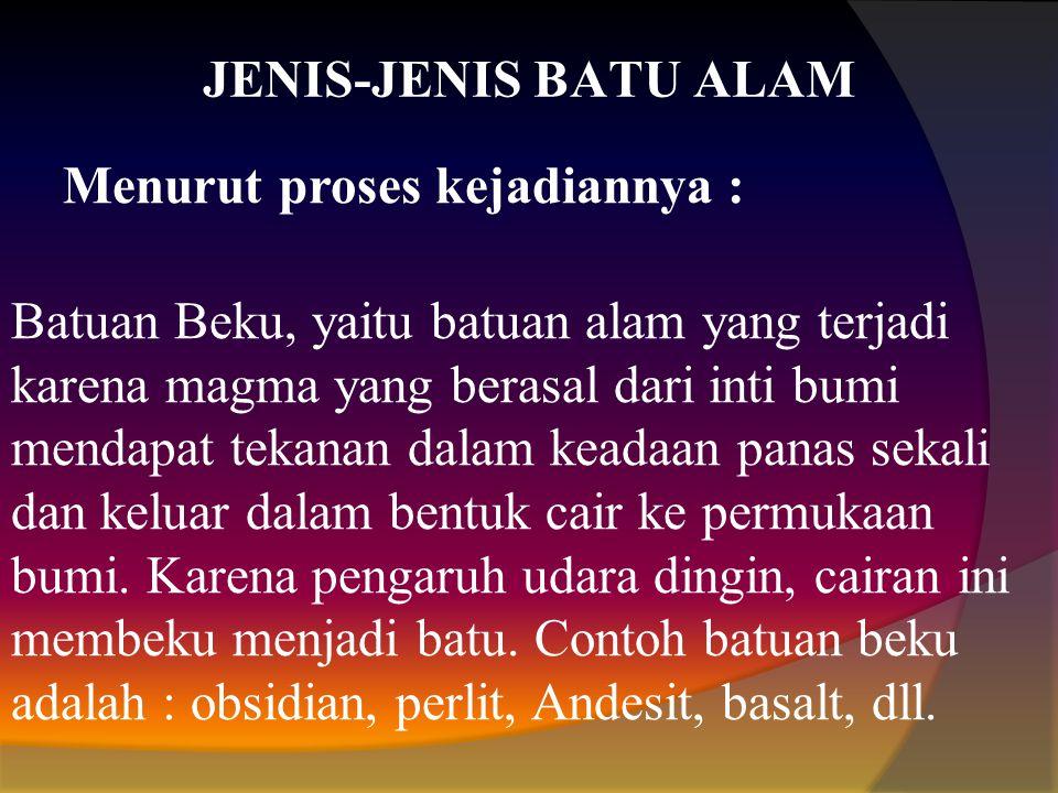 JENIS-JENIS BATU ALAM Menurut proses kejadiannya :