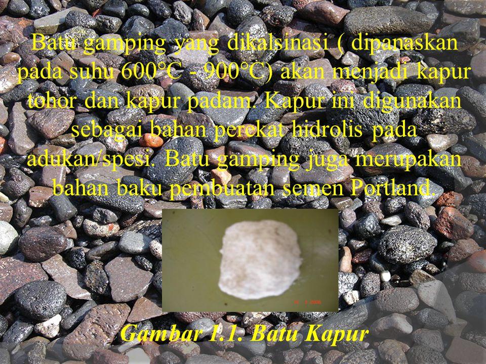 Batu gamping yang dikalsinasi ( dipanaskan pada suhu 600°C - 900°C) akan menjadi kapur tohor dan kapur padam.