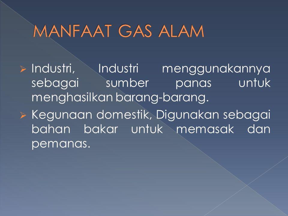 MANFAAT GAS ALAM Industri, Industri menggunakannya sebagai sumber panas untuk menghasilkan barang-barang.