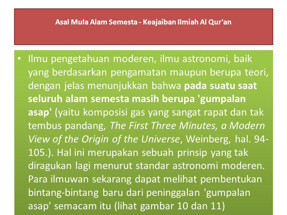 Asal Mula Alam Semesta - Keajaiban Ilmiah Al Qur an