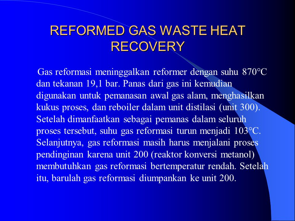REFORMED GAS WASTE HEAT RECOVERY