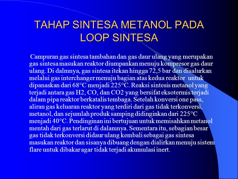 TAHAP SINTESA METANOL PADA LOOP SINTESA