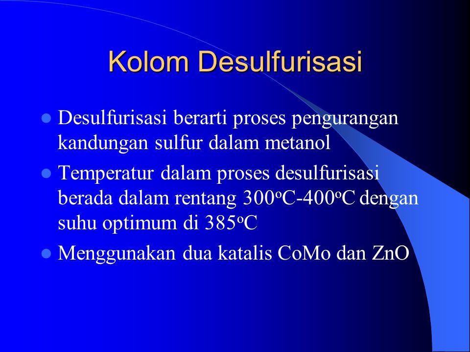 Kolom Desulfurisasi Desulfurisasi berarti proses pengurangan kandungan sulfur dalam metanol.