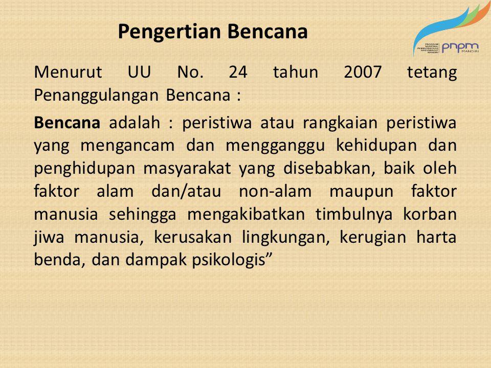 Pengertian Bencana Menurut UU No. 24 tahun 2007 tetang Penanggulangan Bencana :
