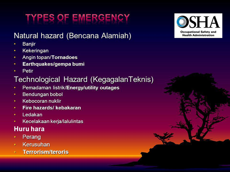 Types of Emergency Natural hazard (Bencana Alamiah)