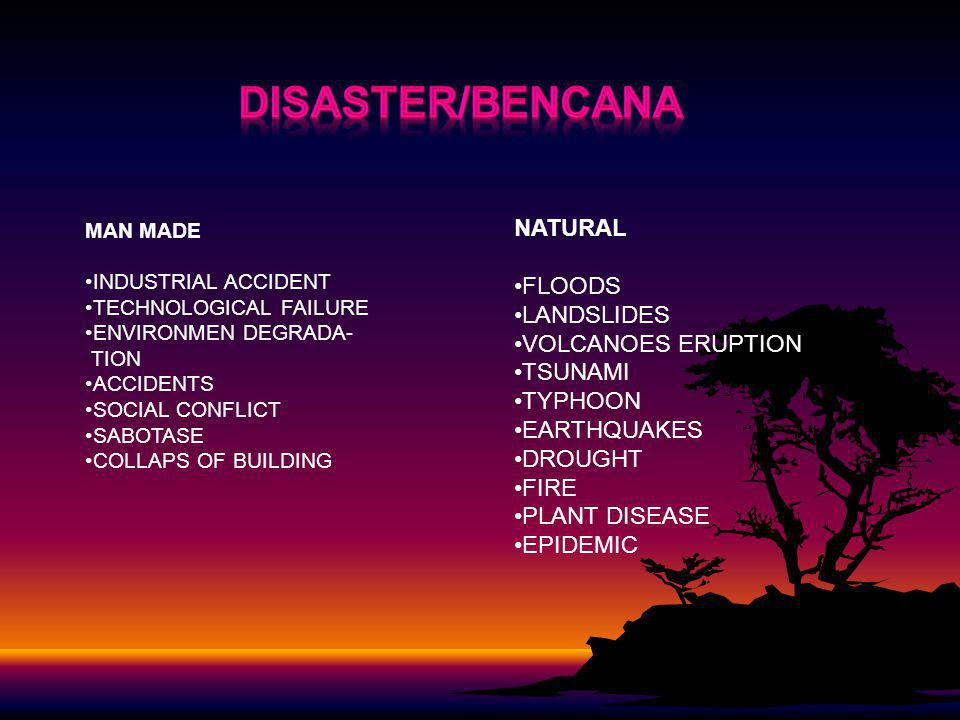 DISASTER/bencana NATURAL FLOODS LANDSLIDES VOLCANOES ERUPTION TSUNAMI