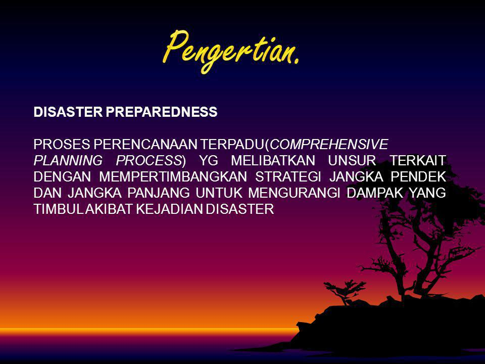 Pengertian. DISASTER PREPAREDNESS