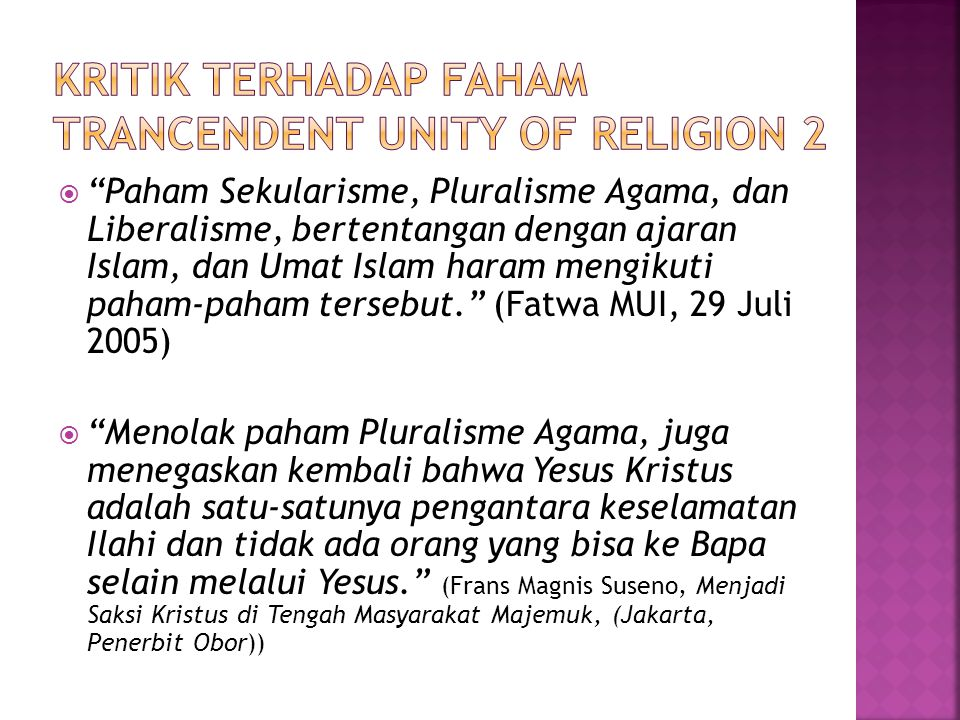 Kritik terhadap faham trancendent unity of religion 2