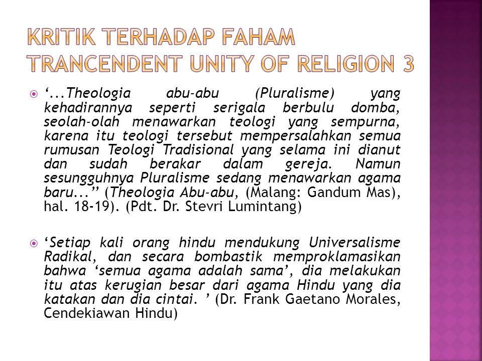 Kritik terhadap faham trancendent unity of religion 3