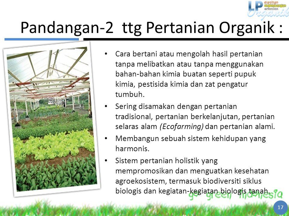 Pandangan-2 ttg Pertanian Organik :
