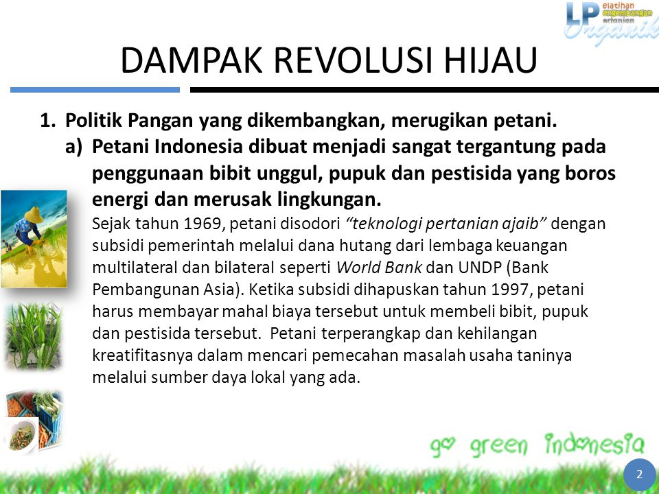 DAMPAK REVOLUSI HIJAU Politik Pangan yang dikembangkan, merugikan petani.