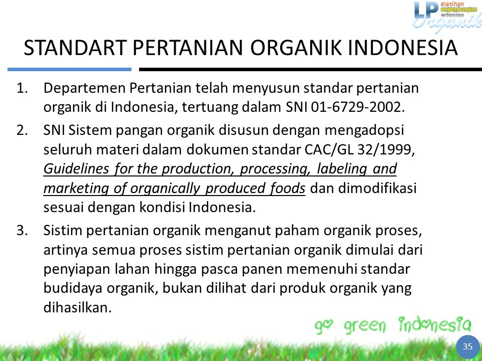 STANDART PERTANIAN ORGANIK INDONESIA