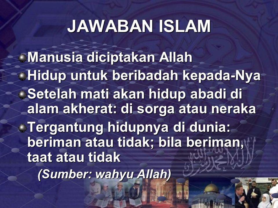 JAWABAN ISLAM Manusia diciptakan Allah