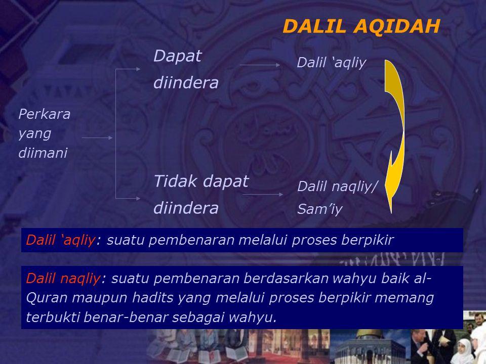 DALIL AQIDAH Dapat diindera Tidak dapat diindera Dalil 'aqliy