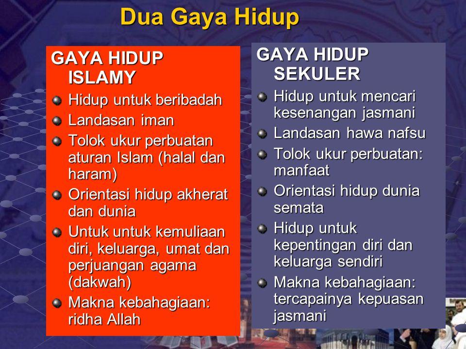 Dua Gaya Hidup GAYA HIDUP SEKULER GAYA HIDUP ISLAMY
