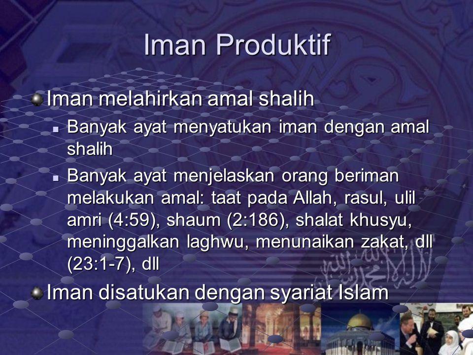 Iman Produktif Iman melahirkan amal shalih
