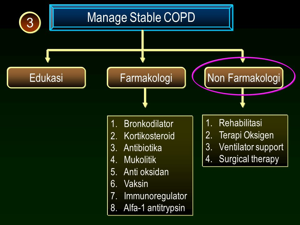 Manage Stable COPD 3 Edukasi Farmakologi Non Farmakologi Bronkodilator