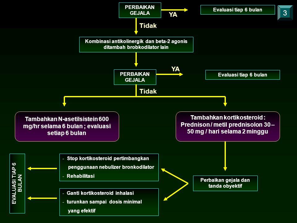 PERBAIKAN GEJALA Evaluasi tiap 6 bulan. 3. YA. Tidak. Kombinasi antikolinergik dan beta-2 agonis ditambah brobkodilator lain.