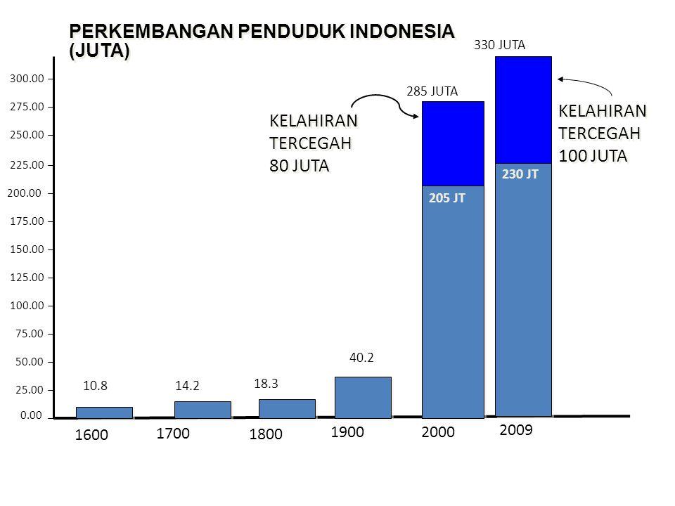 PERKEMBANGAN PENDUDUK INDONESIA (JUTA)