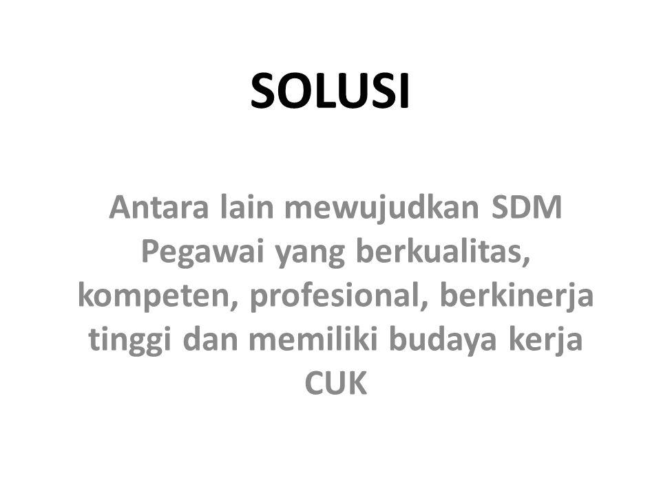 SOLUSI Antara lain mewujudkan SDM Pegawai yang berkualitas, kompeten, profesional, berkinerja tinggi dan memiliki budaya kerja CUK.
