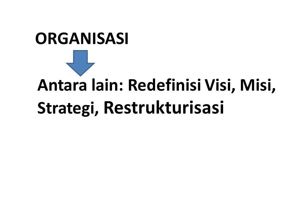 ORGANISASI Antara lain: Redefinisi Visi, Misi, Strategi, Restrukturisasi