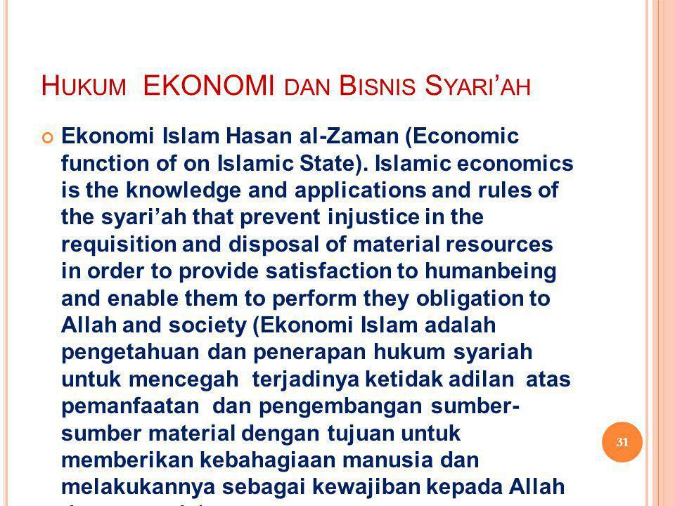 Hukum EKONOMI dan Bisnis Syari'ah