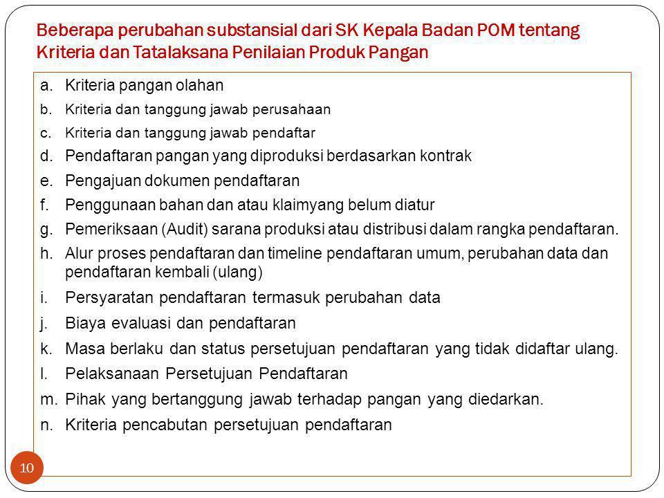 Beberapa perubahan substansial dari SK Kepala Badan POM tentang Kriteria dan Tatalaksana Penilaian Produk Pangan