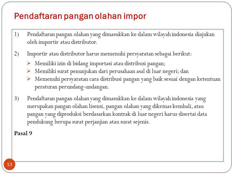 Pendaftaran pangan olahan impor