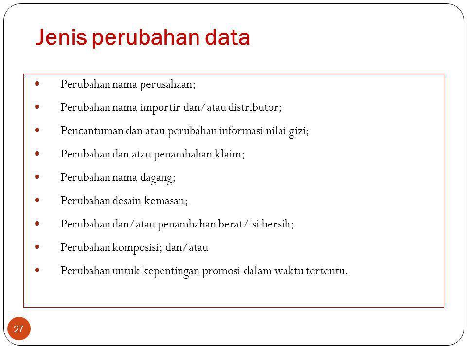 Jenis perubahan data Perubahan nama perusahaan;