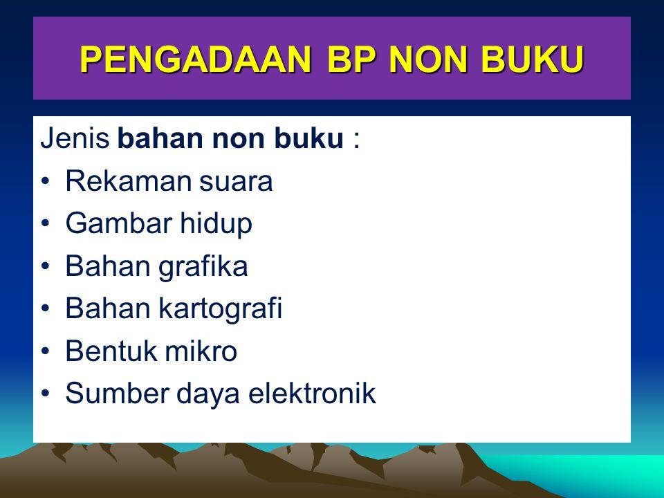 PENGADAAN BP NON BUKU Jenis bahan non buku : Rekaman suara