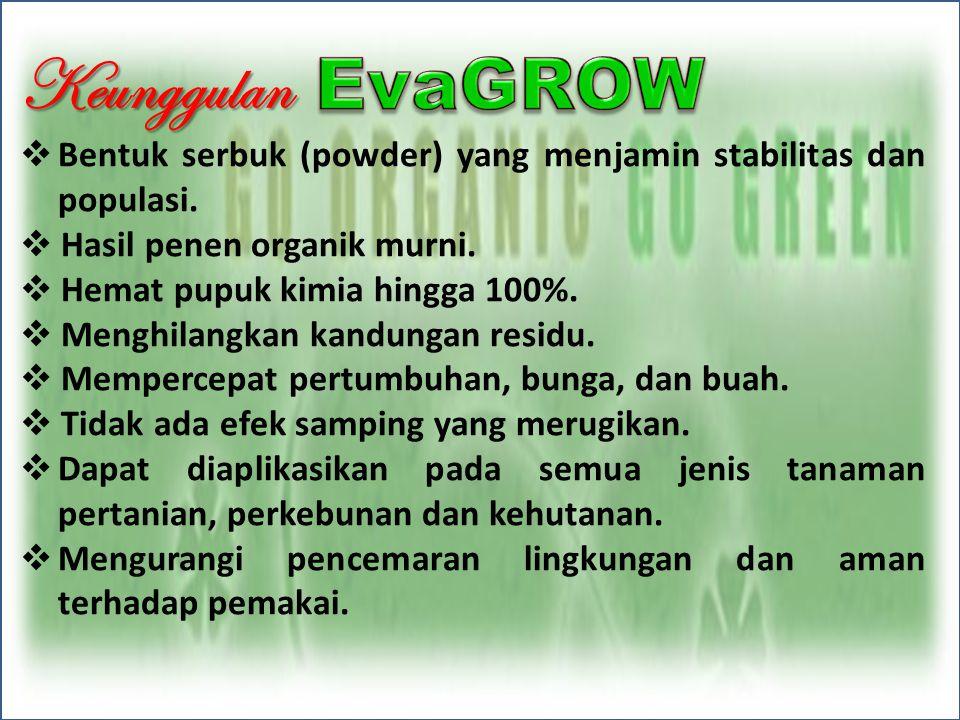 Keunggulan Bentuk serbuk (powder) yang menjamin stabilitas dan populasi. Hasil penen organik murni.