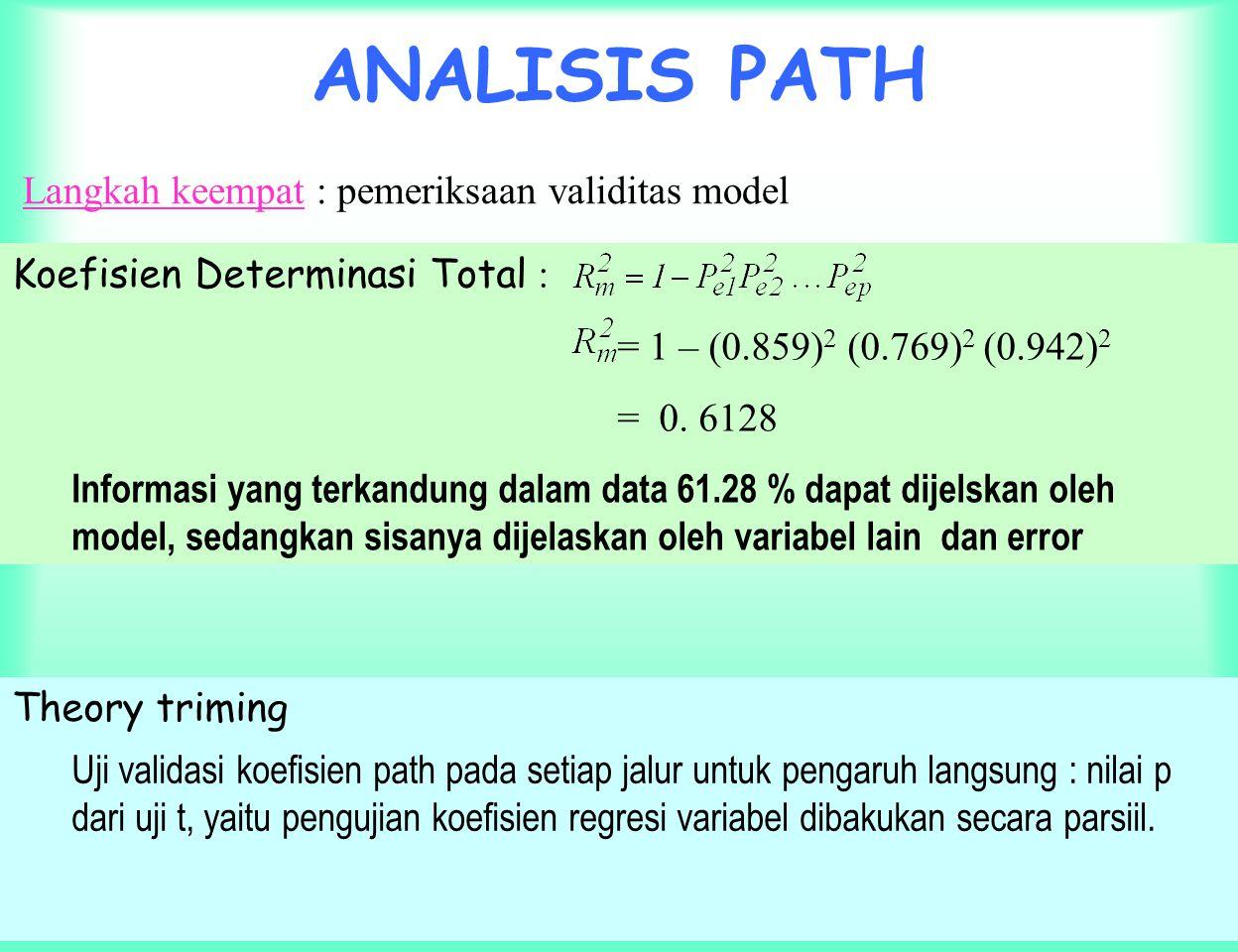 ANALISIS PATH Langkah keempat : pemeriksaan validitas model