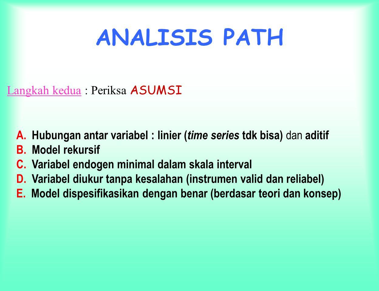 ANALISIS PATH Langkah kedua : Periksa ASUMSI
