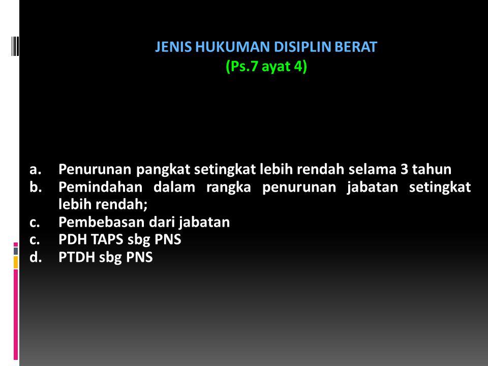 JENIS HUKUMAN DISIPLIN BERAT (Ps.7 ayat 4)