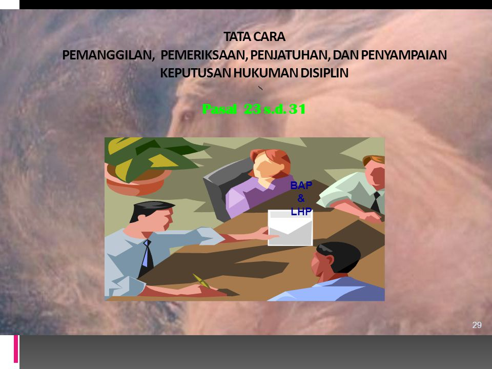 TATA CARA PEMANGGILAN, PEMERIKSAAN, PENJATUHAN, DAN PENYAMPAIAN KEPUTUSAN HUKUMAN DISIPLIN Pasal 23 s.d. 31