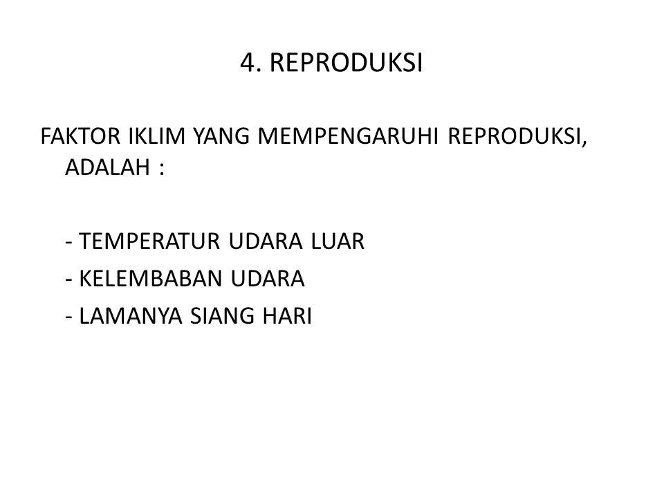 4. REPRODUKSI FAKTOR IKLIM YANG MEMPENGARUHI REPRODUKSI, ADALAH :