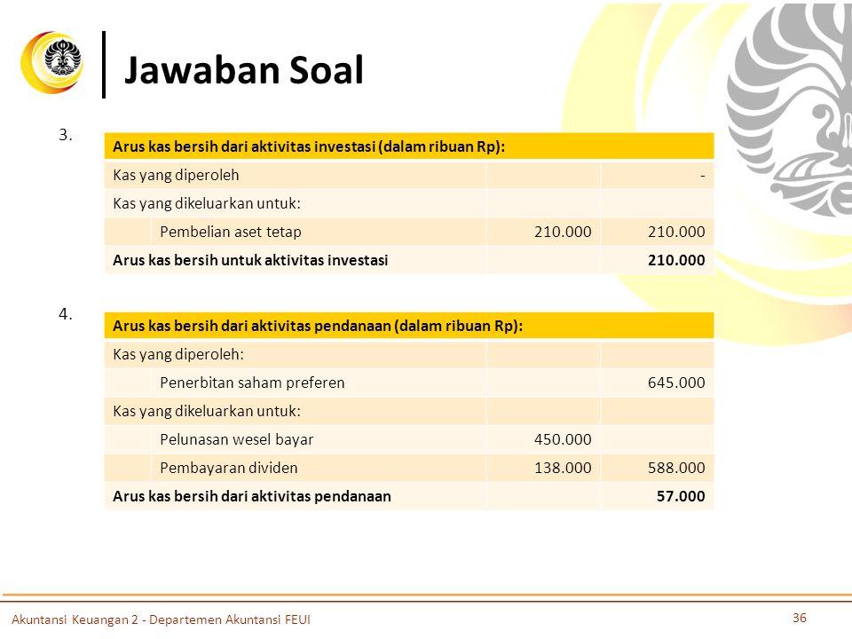 Jawaban Soal 3. Arus kas bersih dari aktivitas investasi (dalam ribuan Rp): Kas yang diperoleh. -