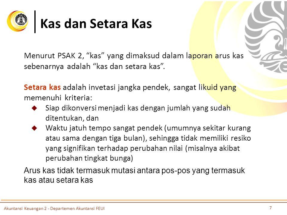 Kas dan Setara Kas Menurut PSAK 2, kas yang dimaksud dalam laporan arus kas sebenarnya adalah kas dan setara kas .