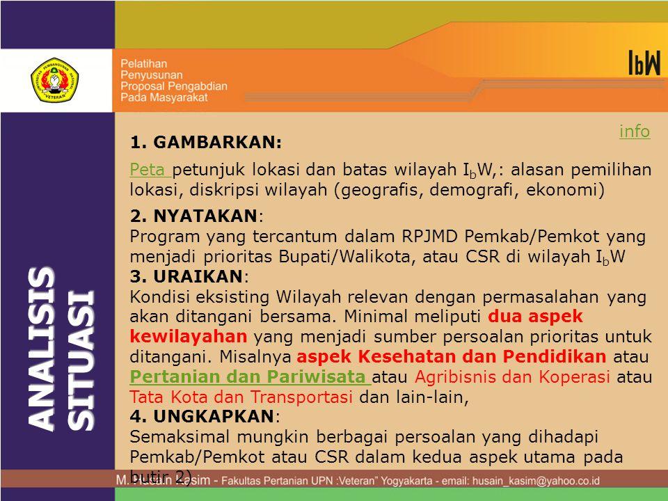 ANALISIS SITUASI info 1. GAMBARKAN:
