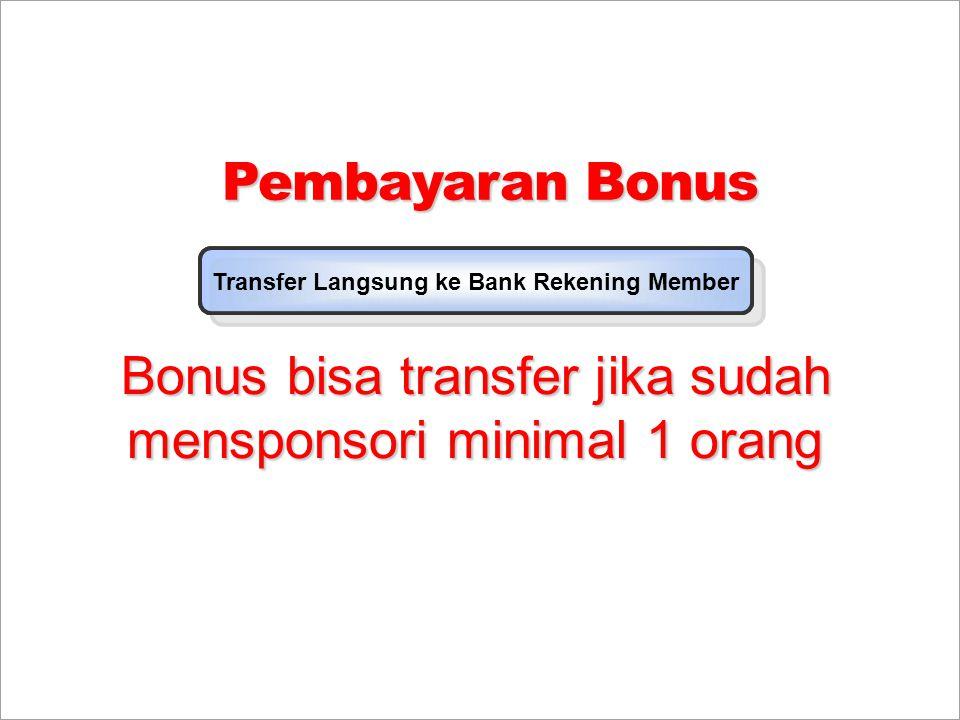 Bonus bisa transfer jika sudah mensponsori minimal 1 orang