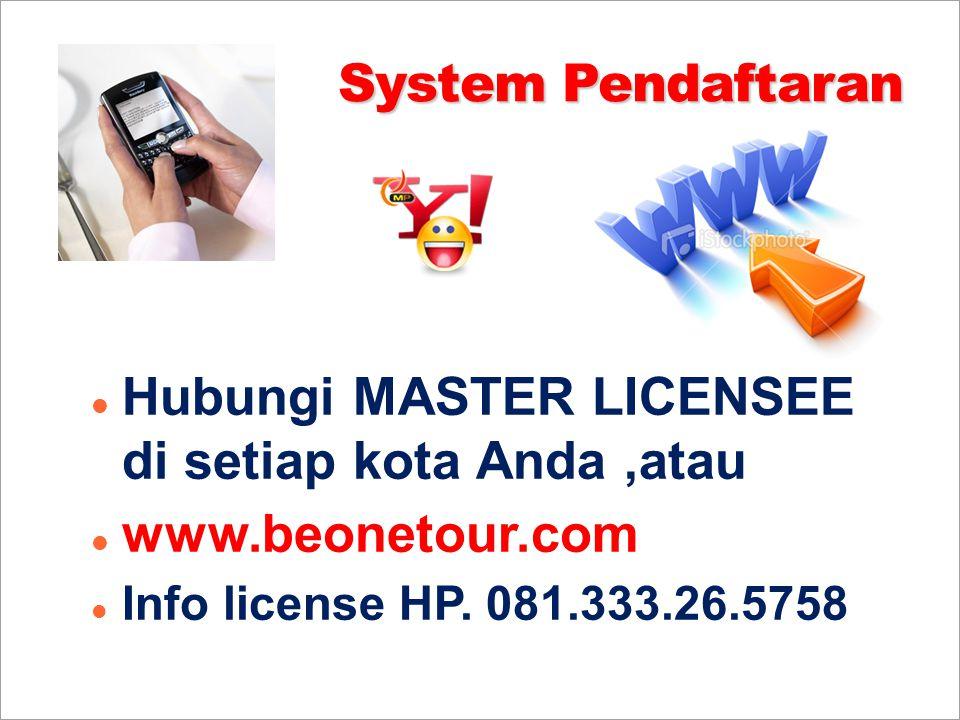 Hubungi MASTER LICENSEE di setiap kota Anda ,atau www.beonetour.com